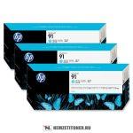 HP C9486A LC világos ciánkék 3db #No.91 tintapatron, 775 ml | eredeti termék