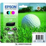 Epson T3466 multipack (Bk,C,M,Y) tintapatron /C13T34664010/, 6,1 ml + 3x4,2 ml | eredeti termék