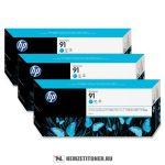 HP C9483A C ciánkék 3db #No.91 tintapatron, 775 ml | eredeti termék