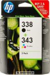HP SD449EE Bk fekete+színes multipack  C8765EE+C8766EE #No.338+343 tintapatron, 11+7 ml | eredeti termék