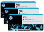 HP B6Y32A R vörös 3db #No.771C tintapatron, 3x775 ml | eredeti termék
