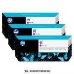 HP C9484A M magenta 3db #No.91 tintapatron, 775 ml | eredeti termék