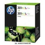 HP D8J46AE színes nagykapacitású #No.301XL DUPLA tintapatron, 2x8 ml   eredeti termék