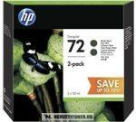 HP P2V33A Bk fekete #No.72 DUPLA tintapatron, 2x130 ml   eredeti termék
